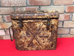 German 3 shells and cases metal carry container for 7.5cm Leichtes 18 infantry support gun dated 1943,Sand camouflage paintwork,nice condition found in Poland
