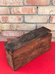 Very Rare 1st Pattern German Maxim machine gun wooden ammunition box with green paintwork,marking on the side found on the Ypres battlefield in Belgium of 1914-1918