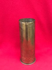 German 77mm shell case trench art marked with scratched design of pattern and flowers dated October 1917 found on The Somme battlefield