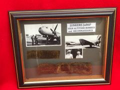 Glass framed very rare nice aluminium airframe sections from German Junkers JU86P high altitude bomber and reconnaissance aircraft only 900 built