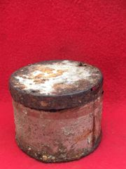 VERY RARE British mills bomb detonator carry tin recovered in 2016 from Flers on The Somme the first village on the Somme captured using tanks