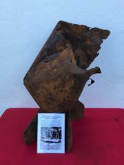 German oil bomb tail fin section recovered from near Antwerp in Belgium properly dropped in 1940 during the German Invasion of France and the Low country's