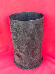 German 15cm SFH 18 field howitzer steel shell case dated 1944 with some markings recovered from Death Valley near Hill 112 the battle in the Falaise Pocket on the Normandy battlefield of 1944