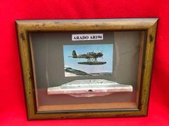 Glass framed very rare nice clean aluminium airframe panel from German Arado AR196 seaplane the shipboard reconnaissance aircraft in service from 1936