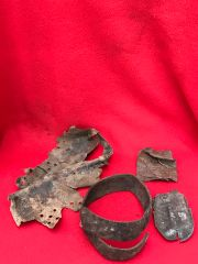 German soldiers leather belt,helmet liner,small pouch,boot insole all in relic condition recovered from the area where the German 30th infantry division fought near Tilti in the Kurland Pocket the battlefield of 1944-1945