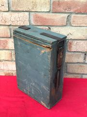 French Hotchkiss machine gun late war wooden ammunition box which held metal ammo strips which is late war make,nice condition with paintwork found on the Somme battlefield