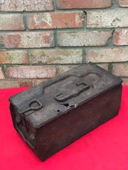 German double maxi machine gun ammunition tin nice condition relic,black paintwork recovered from the village of Sierre on the 1916 Somme battlefield