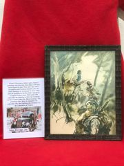 Glass framed colour painting Resistance fighters in the Forest done by a French Resistance fighter who done many pictures and paintings of the fighting in 1944 and German occupation in the years before