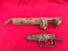 Russian soldiers ppsh-41 machine gun trigger and housing parts in relic but solid condition recovered from the Seelow Heights 1945 battle of Berlin