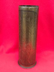 British 18 pounder shell case trench art marked with scratched design of a flower and date 1919 the case is dated April 1916 found on The Somme battlefield
