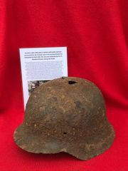 German soldiers M42 pattern helmet with paintwork,nice cleaned relic recovered from Priekule in the Kurland pocket defended by the SS Nordland Division during the battle with photographs of its recovery in 2018