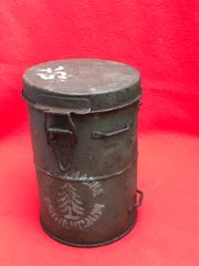 German soldiers gas mask tin converted to carry fat still with original green paintwork and white stamped markings,nice condition relic found on the Somme battlefield of 1916-1918