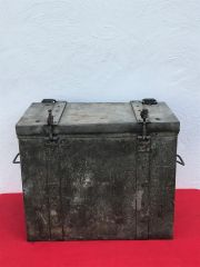 German metal carry case for cooking stove or Boiler used by the German Gebirgsjager recovered on a farm near Rochefort attacked by the Panzer Lehr division in the Ardennes Forest 1944-1945 battlefield