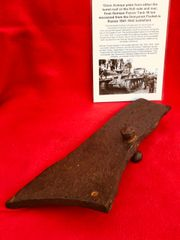 Large section of 15mm Armour plate with gray paint remains from German Panzer 38 ton Tank recovered from the Demyansk Pocket Battlefield in Russia 1941-1942 battlefield