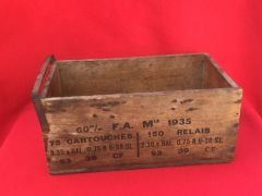 French cartridge holder wooden crate for Brandt mle 1915 mortar dated 1938,missing its lid,original markings found near Dunkirk from 1940 battle of France