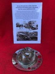 German Mercedes Benz vehicle wheel hub recovered from the Falaise Pocket in Normandy from summer battlefield of 1944