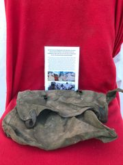 German soldiers mail bag found in the basement of a house near Priekule in the Kurland pocket defended by the SS Nordland Division during the battle with photographs of its recovery in 2018
