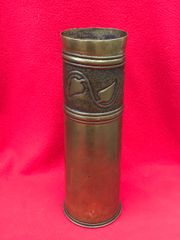 British 18 pounder shell case trench art marked with a embossed leaf design and pebble dashed dated July 1916 found on The Somme battlefield