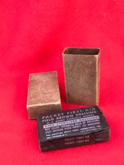 Original US Army M42 field brown dressing Carlisle First Aid complete nice condition found near Bastogne in the Ardennes Forest 1944-1945 battlefield