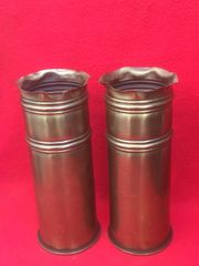 German 77mm shell cases matching pair trench art crown top and stripe design dated 1916,1917 found on the Somme battlefield 1916-1918