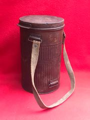 French soldiers gas mask tin dated 1926 with original cloth carry strap found in Arras from the battle of France