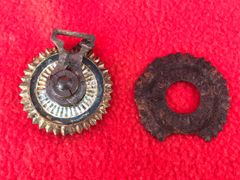 Pair of German pickelhelme chin strap holders fantastic condition relics recovered German bunker near the village of Bucquay on the Somme battlefield