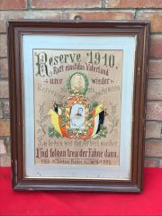Original German Great War soldier glass framed remembrance picture for a soldier killed at the front with his photograph a reservist from 1905-1910 called up again for fatherland