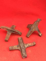 Group of 3 18 pounder transit clips with black,red paintwork,markings recovered from the battlefield at Passchendaele from the 1917 battle part of the third battle of Ypres