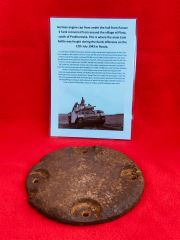 German engine cap from under the hull of Panzer 3 Tank recovered from Plota,near Prokhorovka on the battlefield at Kursk in Russia