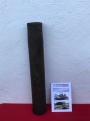 Russian 85mm brass shell case dated 44,complete, brass colour nice and clean used by T34-85 Tank recovered in 2018 from a scrap yard in the 1944-1945 Kurland Pocket, Latvia