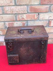 German half track storage box for communication equipment,radio parts,battery's,nice condition,paintwork,faint original marking found in Normandy 1944 battlefield