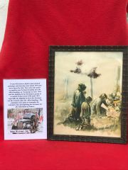 Glass framed colour painting preys for the dead at graveside done by a French Resistance fighter who done many pictures and paintings of the fighting in 1944 and German occupation in the years before