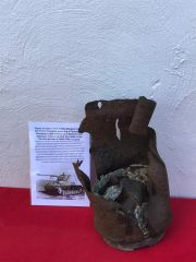 Engine piston in sleeve battle damaged,nice condition relic from Maybach HL 120 engine powering German Nashorn tank destroyer recovered in the Kurland Pocket 1944-1945 battle in Latvia