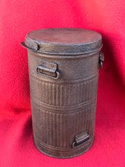 French soldiers gas mask tin dated 1928 with paper label nice solid near complete relic recovered from the Bray Dunes area of the Dunkirk pocket of May - June 1940