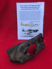 Engine exhaust stub ripped up in the crash,nice condition,original black paintwork from Russian Yakovlev Yak-9 fighter shot down during the siege of Danzig in March 1945