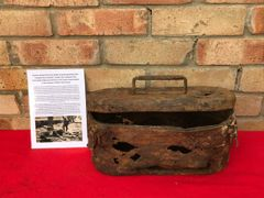 German spring mines also known as bouncing betty bomb Transport box container number 323 recovered from Death Valley near Hill 112 the battle in the Falaise Pocket on the Normandy battlefield