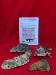 Group of parts which are airframe,armour plate and engine part all with paintwork from German Ju87b-1 stuka dive bomber shot down 16th August 1940 crashed at Pagham