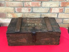 German wooden crate for shells for the 10 cm K14 artillery gun nice condition with markings found on the Somme battlefield of 1916-1918