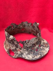 German soldiers relic M16 helmet recovered in Mametz wood on the 1916 Somme battlefield
