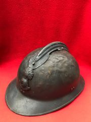 French Colonial infantry soldiers M1926 Adrian helmet semi-relic condition complete with badge,blue paintwork possible naval issue found on a brocante in Calais left over from 1940 battle of France