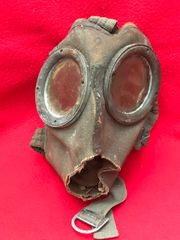 German soldiers cloth gas mask numbed in 2 relic condition recovered from the area where the German 30th infantry division fought near Tilti in the Kurland Pocket the battlefield of 1944-1945