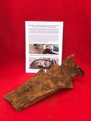 Electrical fuse box cover from inside tank recovered from British Mark 5 Tank destroyed during the Battle of Le Hamel on the 4th July 1918,Australian and American offensive on the Somme battlefield