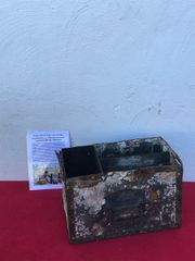 German Fallschirmjager radio parts box,fantastic condition wood and metal made with paintwork recovered from a pit of Fallschirmjager and Army equipment buried on Hill 192 the battle of St Lo on the Normandy battlefield of 1944