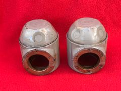 German pair of Periscope lens boxes nice condition original paint work found in Normandy 1944 battlefield