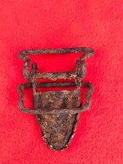 American Parachute harness clip from drop canister in relic condition recovered from the Ardennes Forest around Bastogne from the battle of the bulge in the winter of 1944