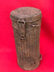 German soldiers gas mask tin relic condition recovered from the area where the German 30th infantry division fought near Tilti in the Kurland Pocket the battlefield of 1944-1945