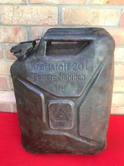 German Fuel can the famous Jerry can dated 1940 with battle damage recovered in 2017 from the Demyansk Pocket in Russia 1941-1942 battlefield