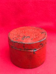 German 12cm mortar propellant charges carry tin dated 1943 with all original markings,red painted found in Normandy 1944 battlefield
