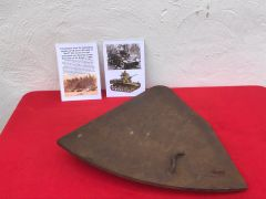 Turret hatch from the horseshoe cupola from US Stuart M5 tank of the 9th Armoured Division recovered from near Bastogne from the battle of the Bulge in 1944 with photograph of the tanks in 1944