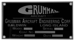 Reproduction Grumman Aircraft Data Plate, 1930-1942 DPL-0105